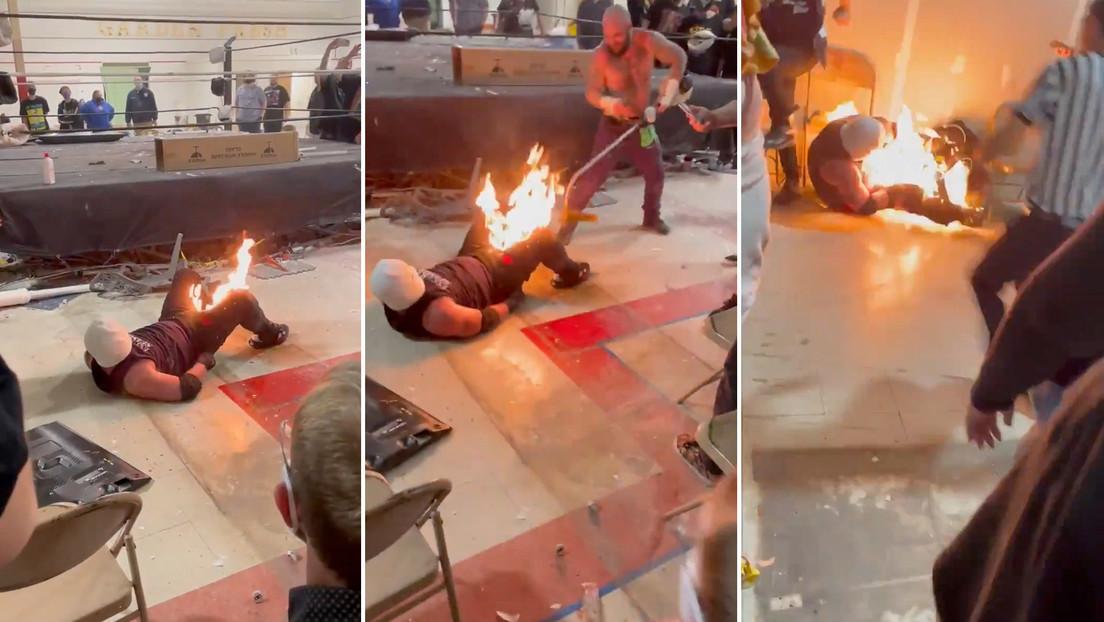 """""""Die brutalste Show der Welt"""": Wrestler lässt sich unter Gürtellinie anzünden – Stunt geht schief"""