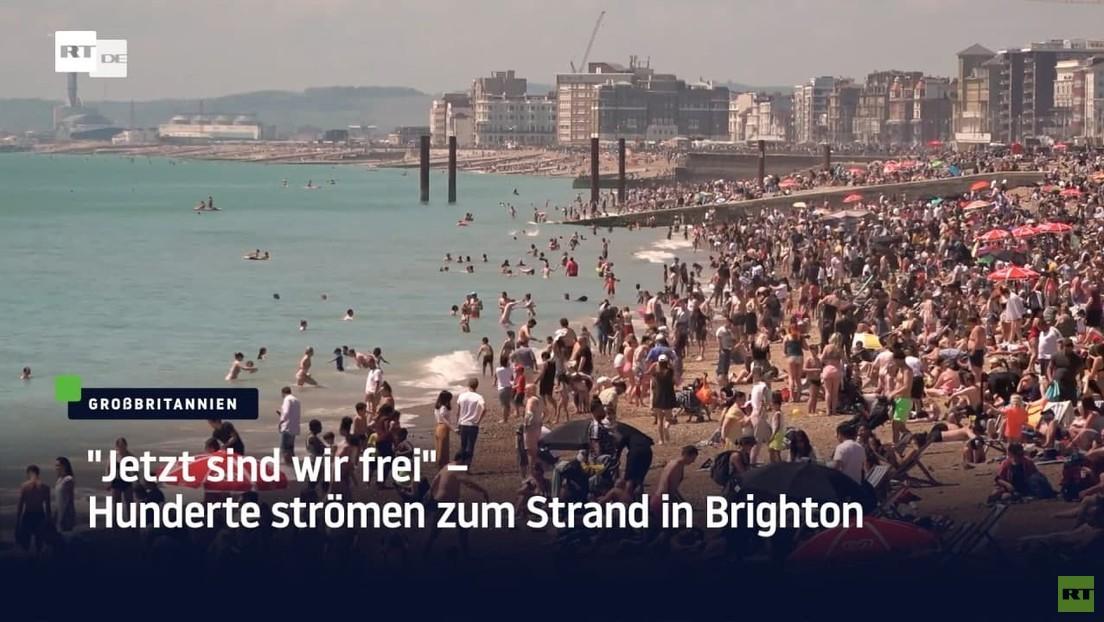 """""""Jetzt sind wir frei"""" – Hunderte strömen zum Strand in Brighton"""