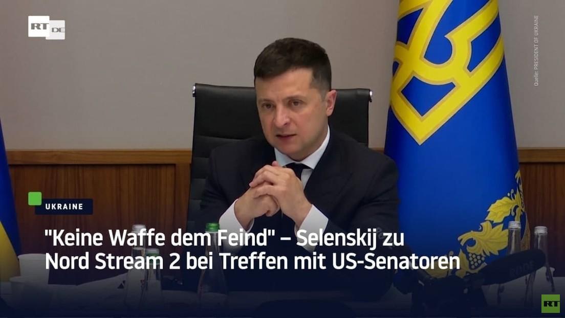 """""""Keine Waffe dem Feind"""" – Selenskij zu Nord Stream 2 bei Treffen mit US-Senatoren"""