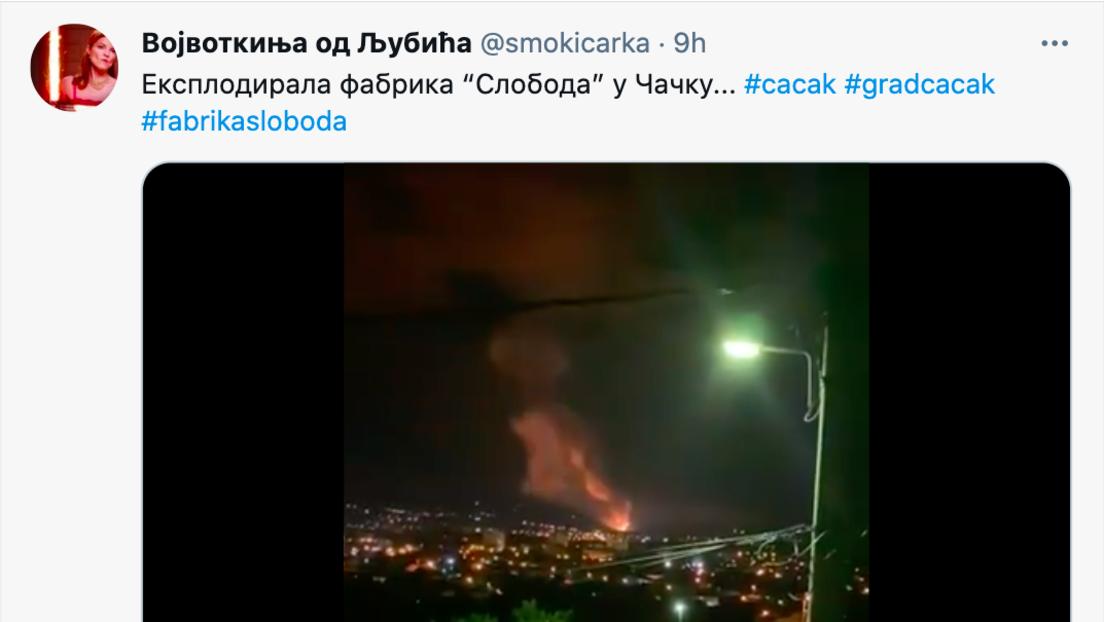 """Serbien: Explosion in Munitionsfabrik """"Sloboda Čačak"""""""