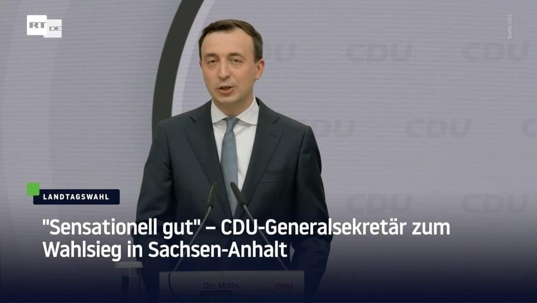 """""""Sensationell gut"""" – CDU-Generalsekretär zum Wahlsieg in Sachsen-Anhalt"""