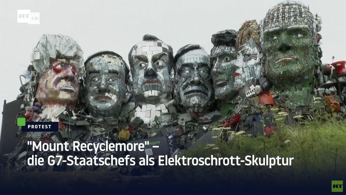 """""""Mount Recylemore"""" – G7-Staatschefs als Elektroschrott-Skulptur verewigt"""