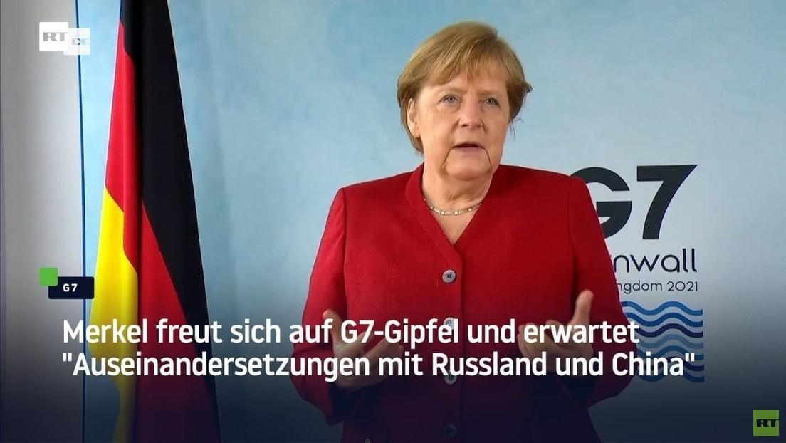 """Merkel freut sich auf G7-Gipfel und erwartet """"Auseinandersetzungen mit Russland und China"""""""