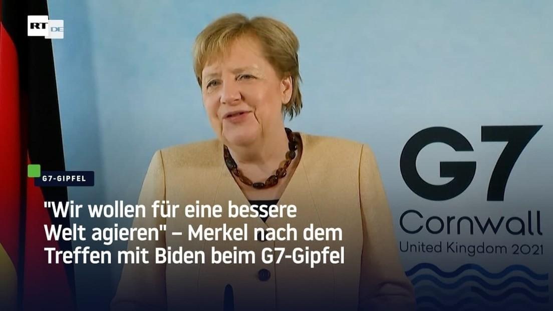 """""""Wir wollen für eine bessere Welt agieren"""" – Merkel nach dem Treffen mit Biden beim G7-Gipfel"""