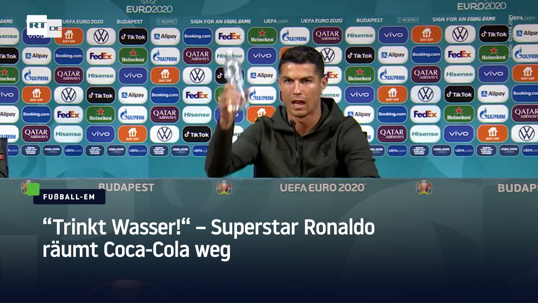 """""""Trinkt Wasser!"""" – Superstar Ronaldo räumt Coca-Cola bei EM-Pressekonferenz weg"""
