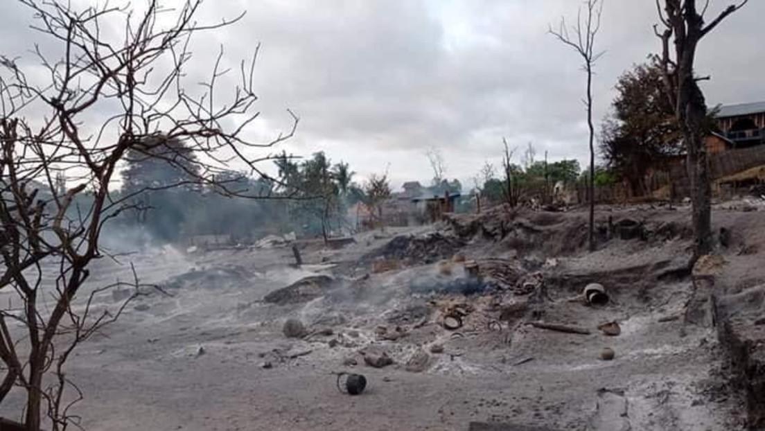 Putsch in Myanmar: Dorf nach Zusammenstößen niedergebrannt