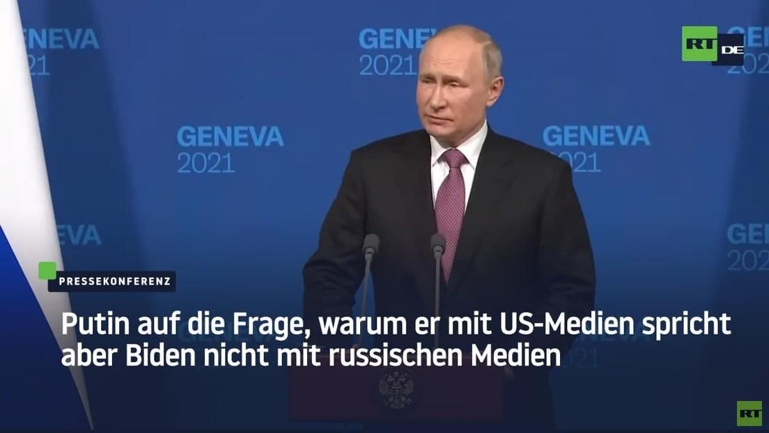 Putin auf die Frage, warum er mit US-Medien spricht aber Biden nicht mit russischen Medien