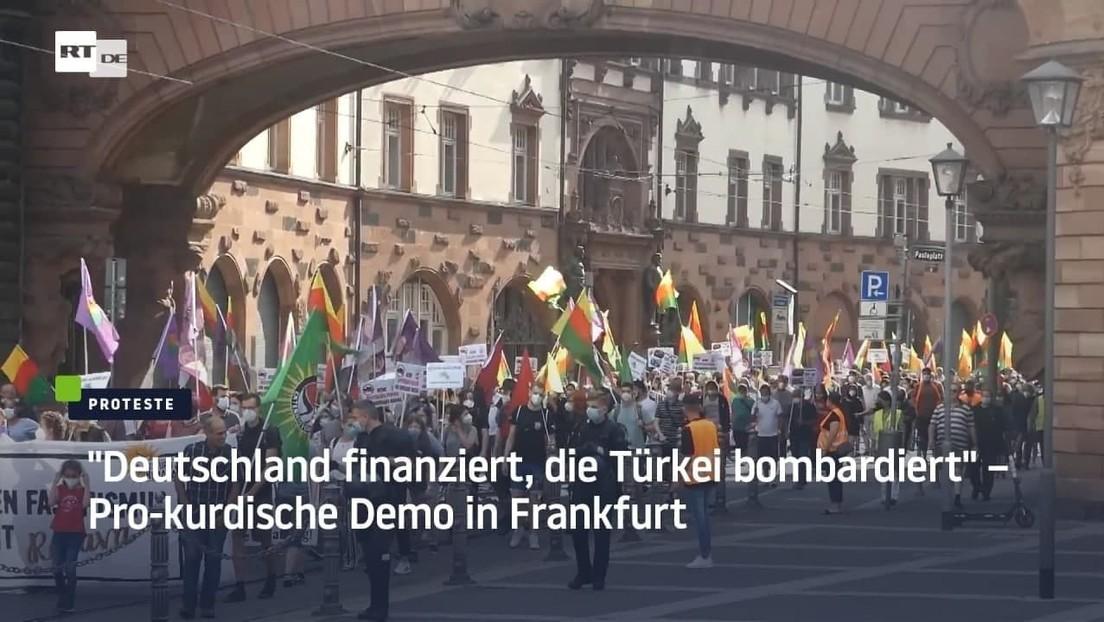 """""""Deutschland finanziert, die Türkei bombardiert"""" – Pro-kurdische Demo in Frankfurt"""