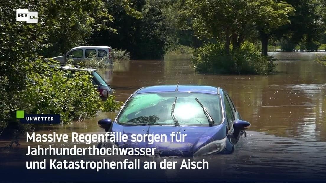Massive Regenfälle sorgen für Jahrhunderthochwasser und Katastrophenfall an der Aisch