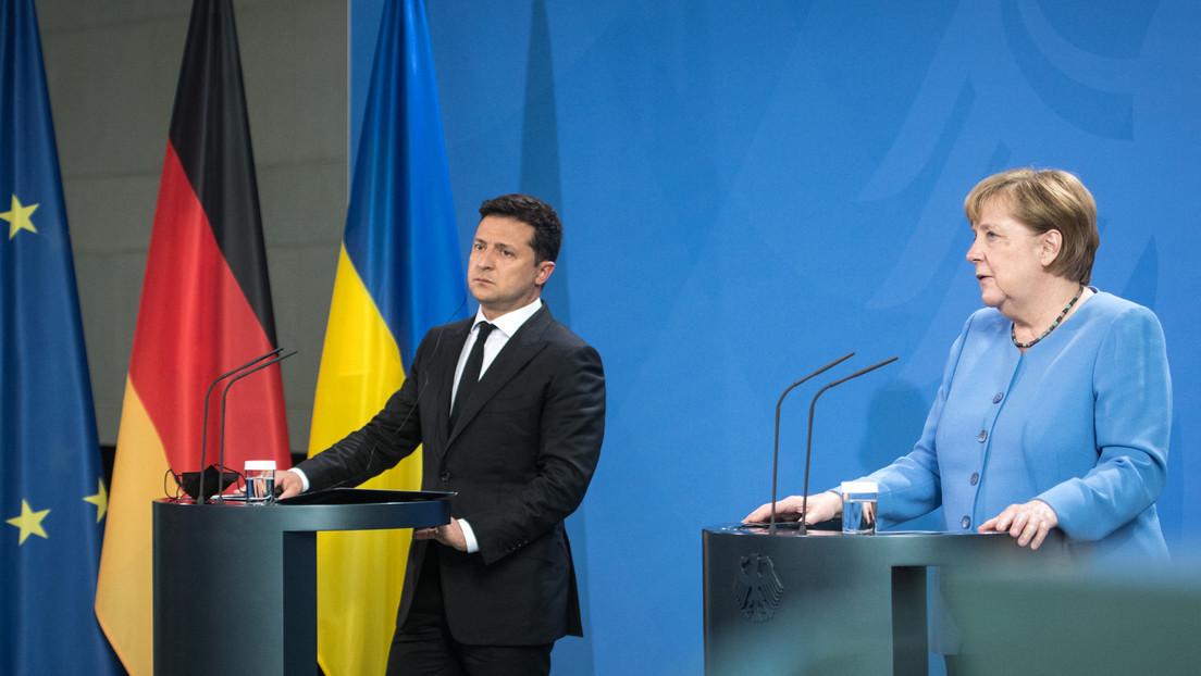 Selenskij in Berlin: Merkel skeptisch bezüglich schneller Lösung des Streits um Nord Stream 2
