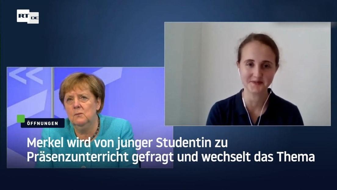 Merkel wird von junger Studentin zu Präsenzunterricht gefragt und wechselt das Thema