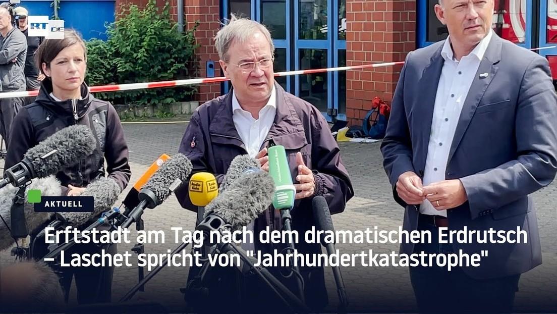 """Erftstadt am Tag nach dem dramatischen Erdrutsch – Laschet spricht von """"Jahrhundertkatastrophe"""""""