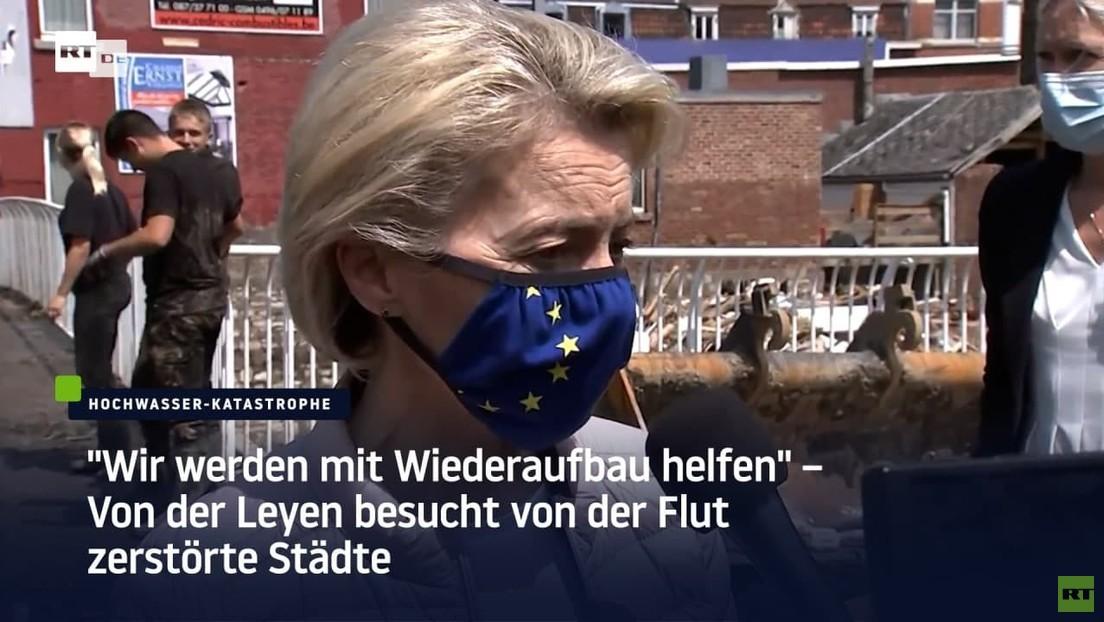 """Belgien: """"Wir werden mit Wiederaufbau helfen"""" – Von der Leyen besucht von der Flut zerstörte Städte"""
