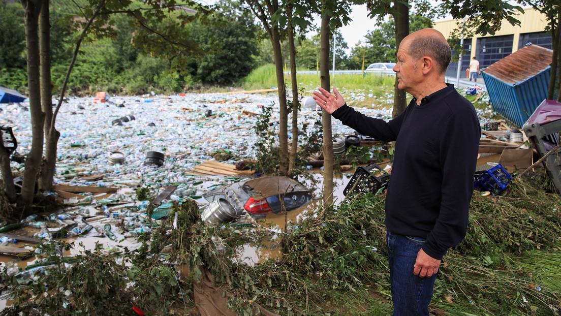 Olaf Scholz stellt Opfern der Flutkatastrophe mehr als 300 Millionen Euro Soforthilfe in Aussicht