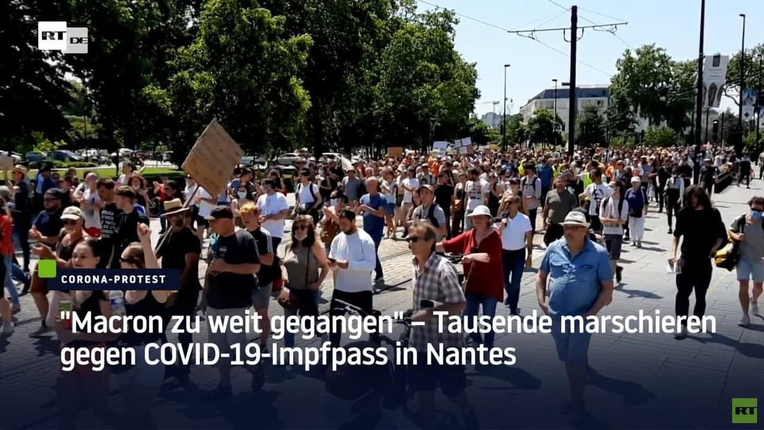 """""""Macron zu weit gegangen"""" – Tausende marschieren gegen COVID-19-Impfpass in Nantes"""