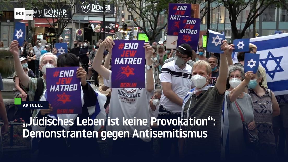 Berliner zeigen Flagge bei Demo gegen Judenhass