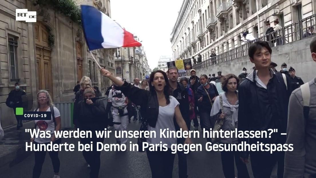 """""""Was werden wir unseren Kindern hinterlassen?""""– Hunderte bei Demo in Paris gegen Gesundheitspass"""