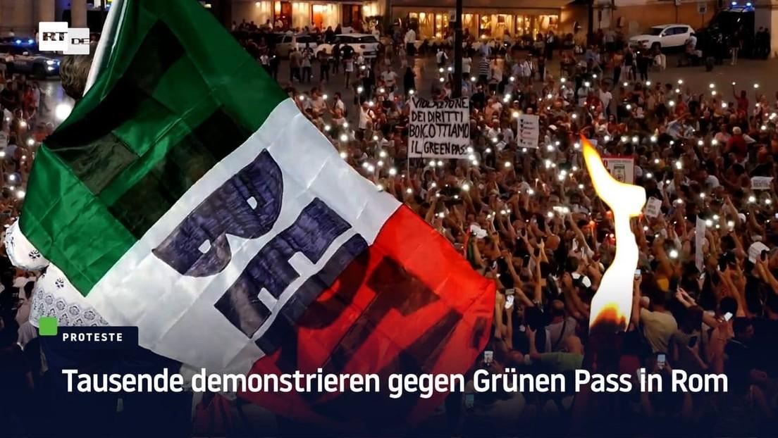 """Proteste gegen Corona-Pass halten an: """"Wir kämpfen in Italien und in Frankreich dagegen"""""""
