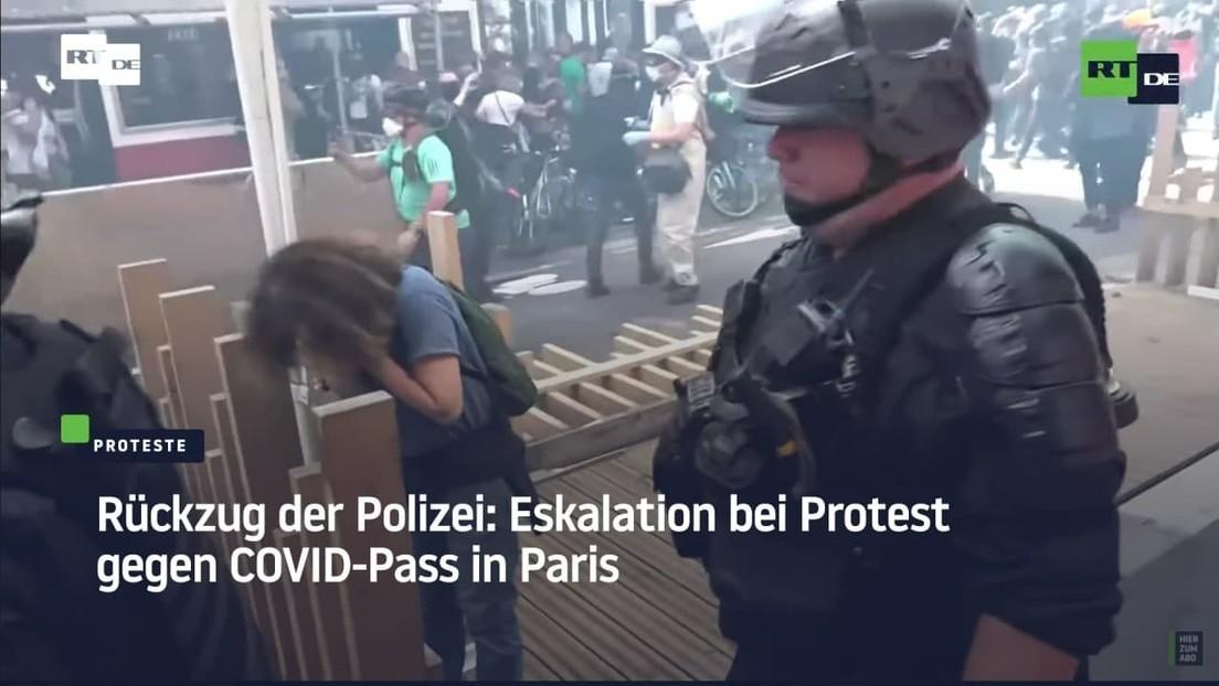 Taktischer Rückzug der Polizei: Eskalation bei Protest gegen COVID-Pass in Paris