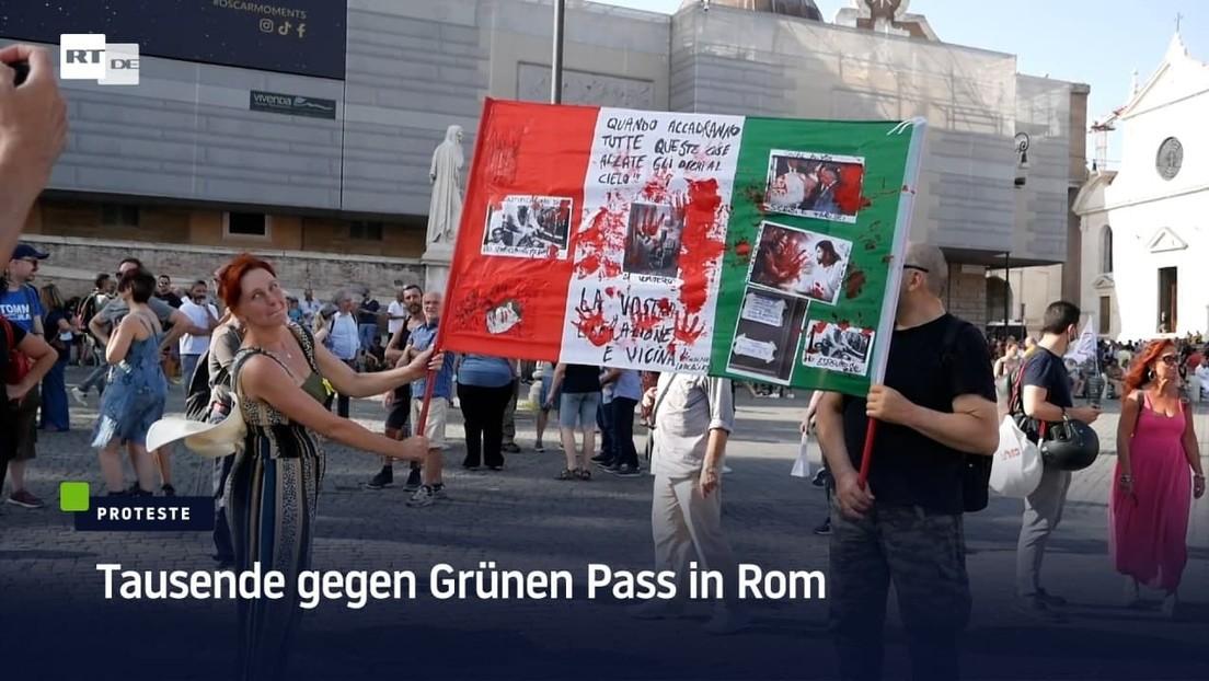 """""""Wir werden bald sehen, wie die Geimpften uns angreifen werden"""": Tausende gegen Grünen Pass in Rom"""