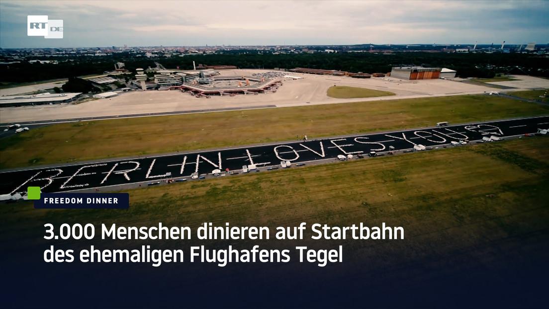 Freedom Dinner: 3.000 Menschen dinieren auf Startbahn des ehemaligen Flughafens Tegel