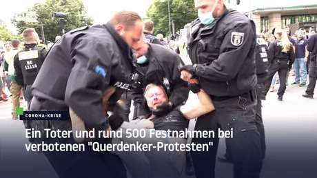 """Ein Toter und rund 500 Festnahmen bei verbotenen """"Querdenker-Protesten"""""""