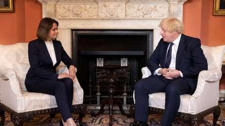 Boris Johnson trifft sich mit weißrussischer Oppositionspolitikerin Tichanowskaja in Downing Street