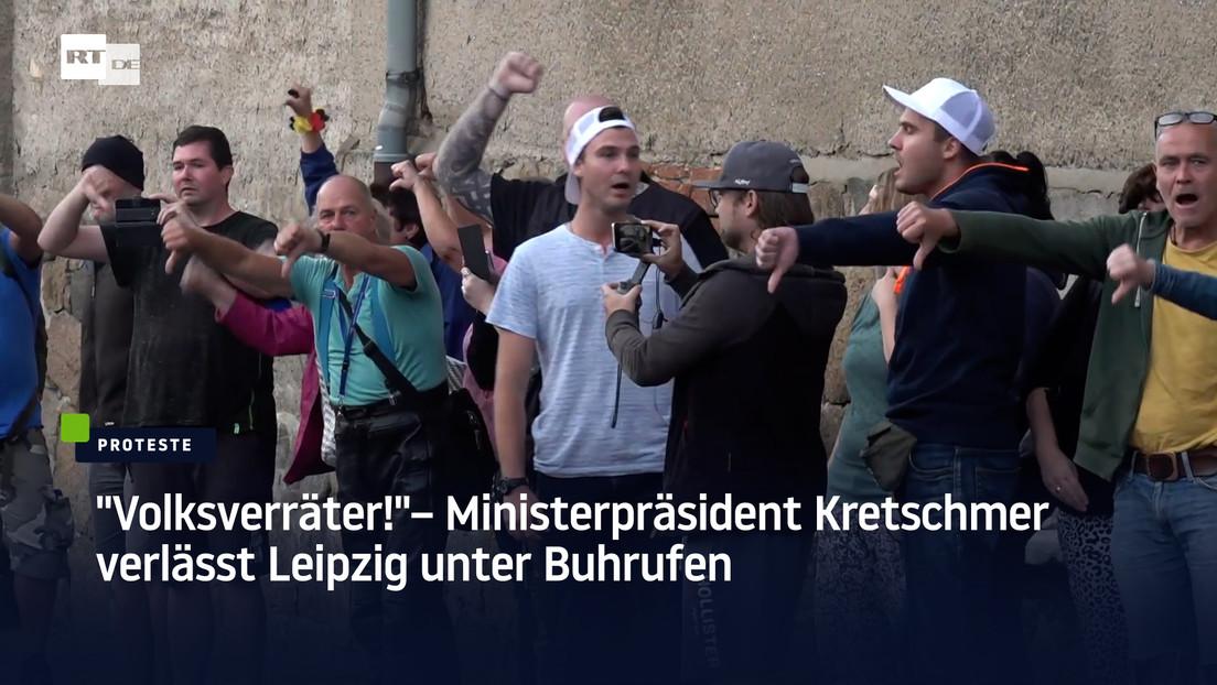 """""""Volksverräter!"""" – Ministerpräsident Kretschmer verlässt Leipzig unter Buhrufen"""