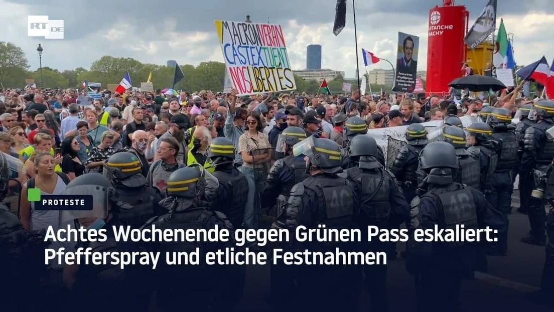 Achtes Wochenende gegen Grünen Pass eskaliert: Pfefferspray und etliche Festnahmen