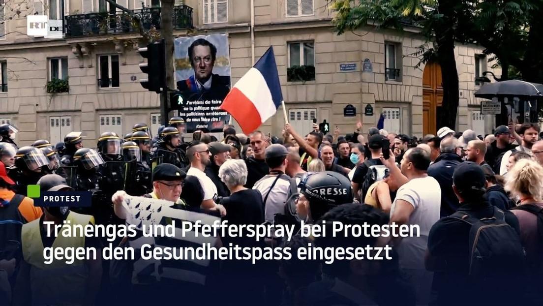 Paris: Tränengas und Pfefferspray bei Protesten gegen den Gesundheitspass eingesetzt