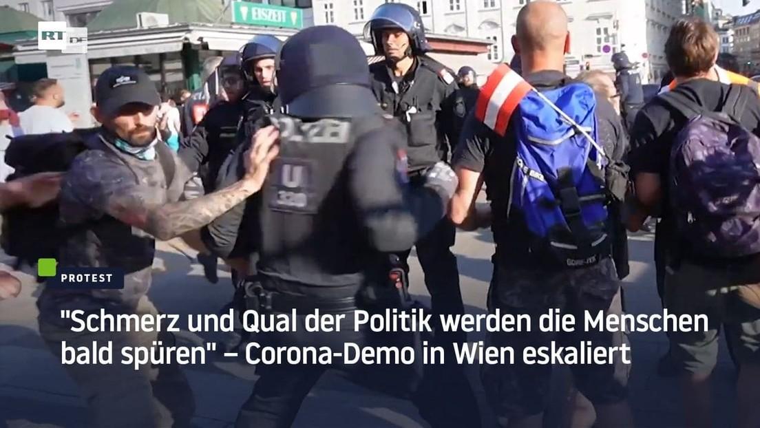 """""""Schmerz und Qual der Politik werden die Menschen bald spüren"""" – Corona-Demo in Wien eskaliert"""