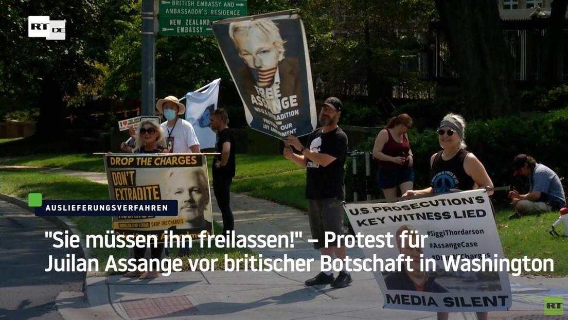 """""""Müssen Assange freilassen!"""" – Proteste vor britischer Botschaft in Washington"""