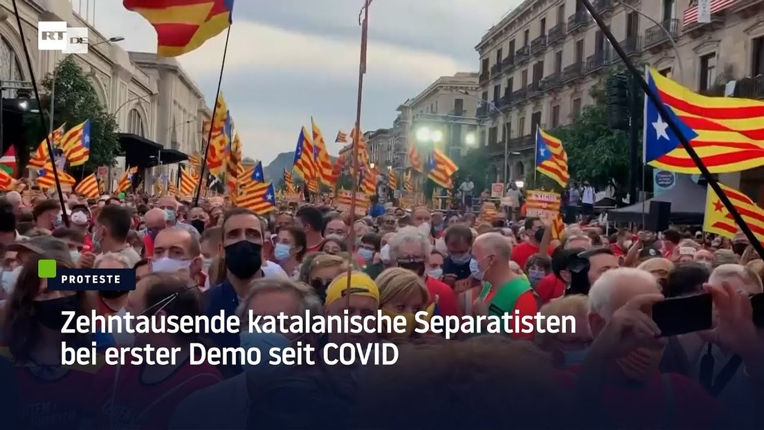 Zehntausende katalanische Separatisten bei erster Großdemonstration seit der Corona-Krise