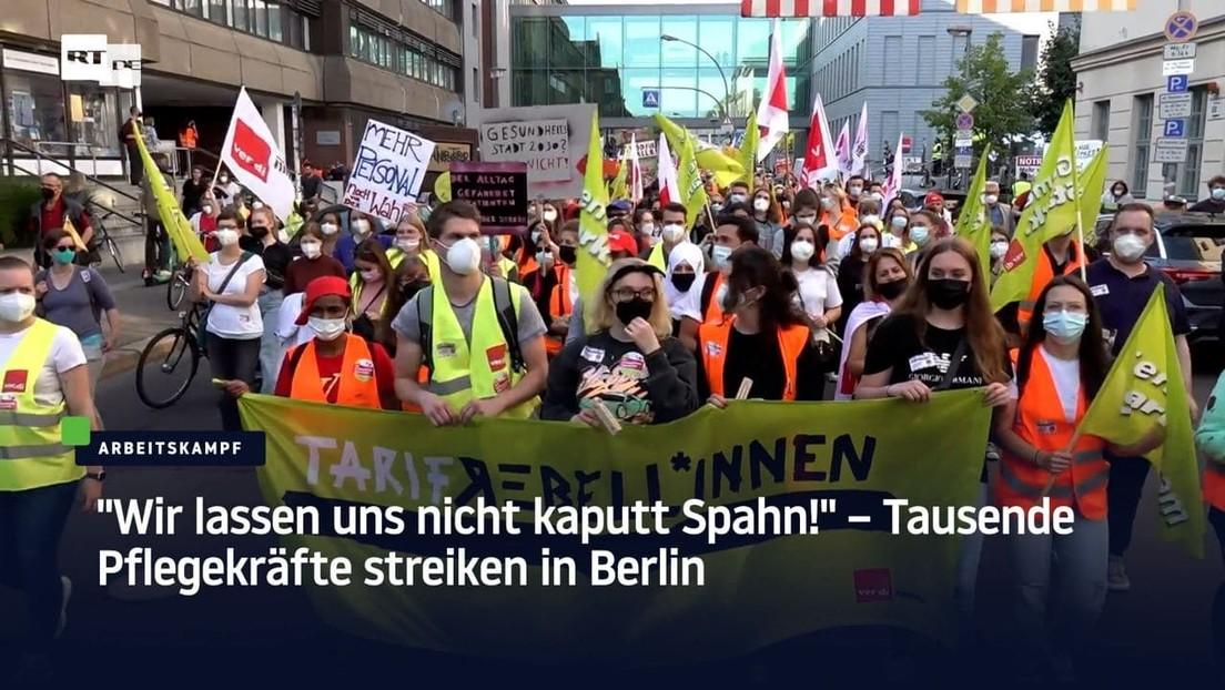 """""""Wir lassen uns nicht kaputt Spahn!"""" – Tausende Pflegekräfte streiken in Berlin"""