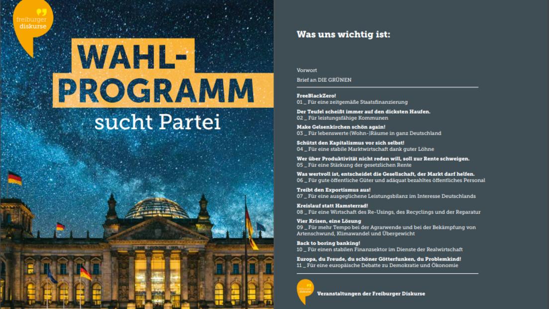 Wahlprogramm sucht Partei – Unkonventioneller Beitrag zum Bundestagswahlkampf