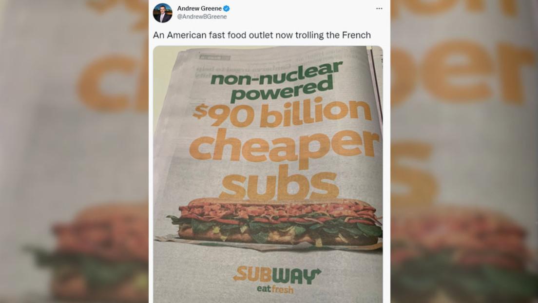 Subway spottet in Werbung über geplatzten U-Boot-Deal zwischen Frankreich und Australien