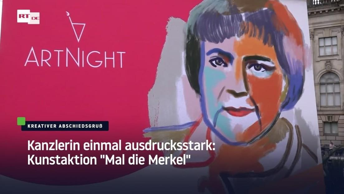 "Kanzlerin einmal ausdrucksstark: Kunstaktion ""Mal die Merkel"" in Berlin"