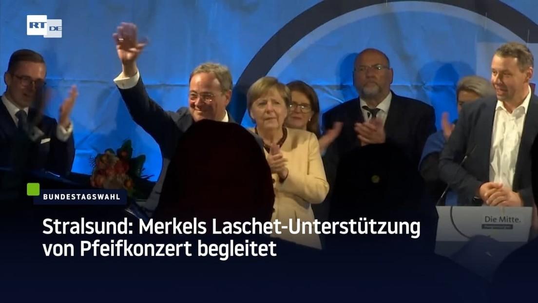 Stralsund: Merkels Laschet-Unterstützung von Pfeifkonzert begleitet