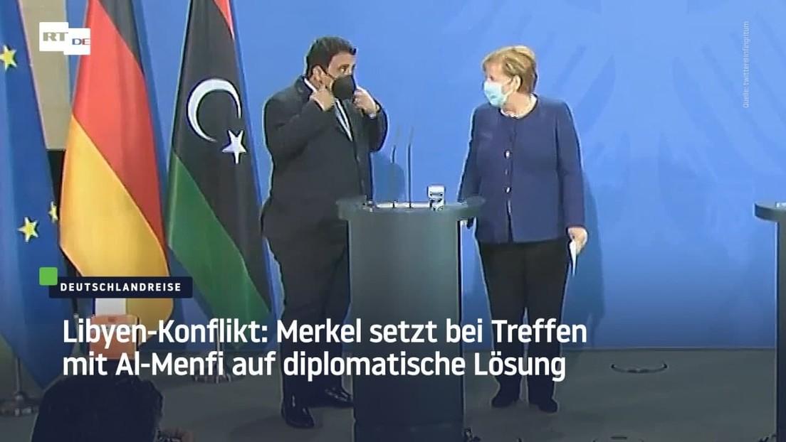 Libyen-Konflikt: Merkel setzt bei Treffen mit Al-Menfi auf diplomatische Lösung