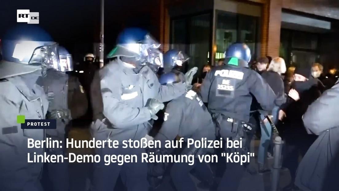 """Berlin: Hunderte stoßen auf Polizei bei Linken-Demo gegen Räumung von """"Köpi"""""""