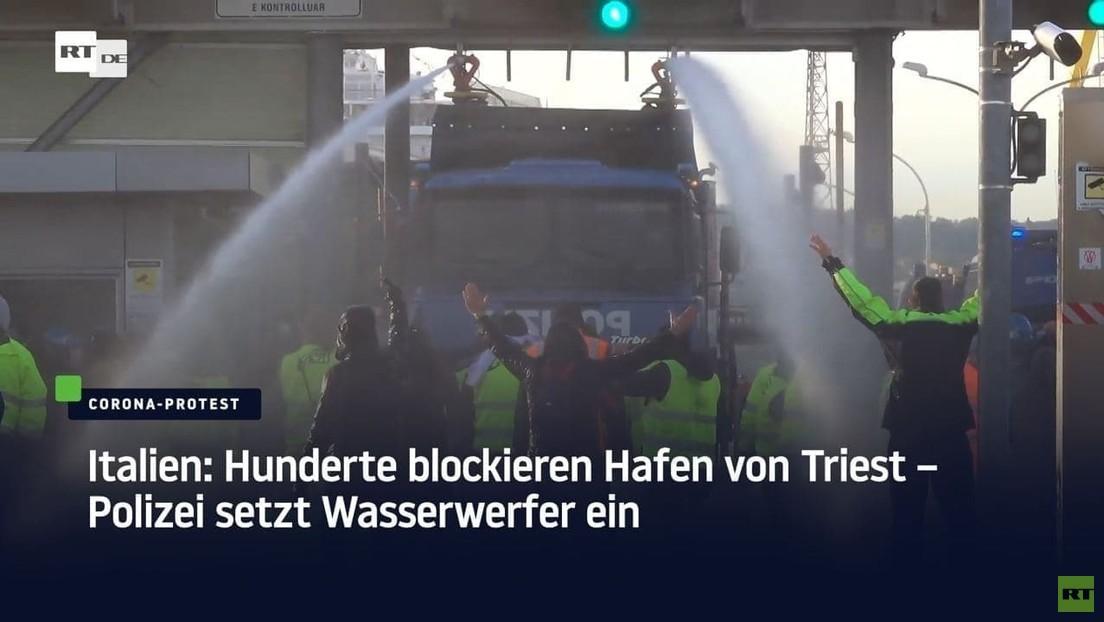 Polizei räumt Demonstration von Triester Hafenmitarbeitern mit Wasserwerfern
