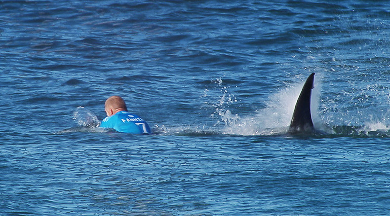 Jaw-dropping: World champion surfer battles shark on live TV in S. African competition