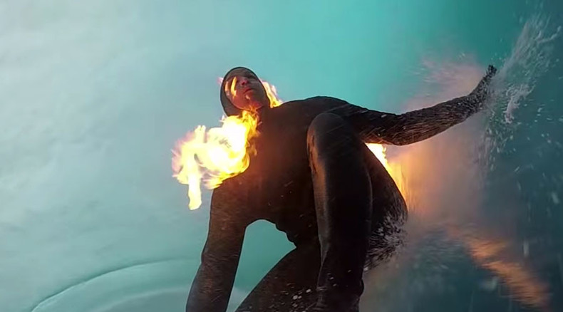 Human torch: Surfer catches a wave while on fire (VIDEO)