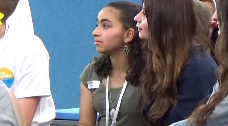 Palestinian girl reduced to tears by Merkel wishes Israel gone