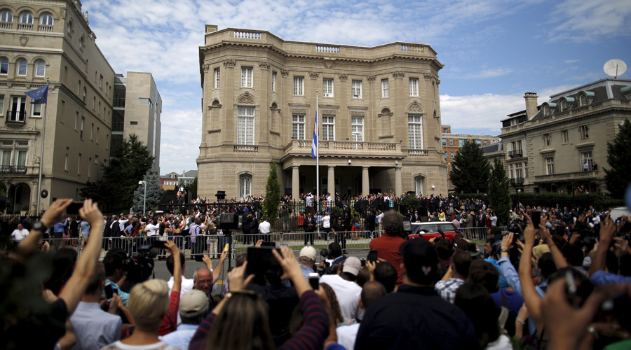 Cuban flag flies in Washington as embassy reopens after 54 years