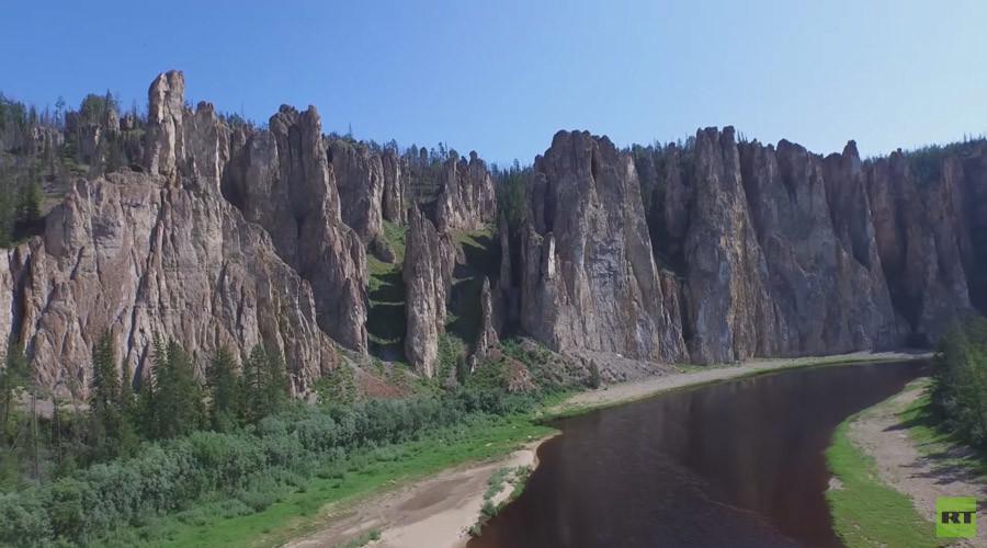 Yakutia rocks: Siberia's amazing Sinsky Pillars as seen from drone (VIDEO)