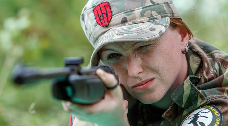 A fighter from a Female unit of far-right Ukrainian party, Right Sector © Olexander Zobin