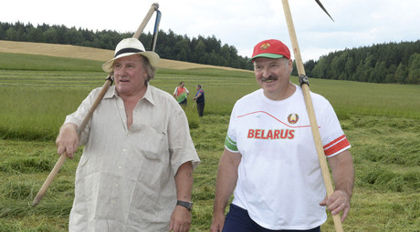 French-turned-Russian actor Depardieu takes farming lesson from Belarus president
