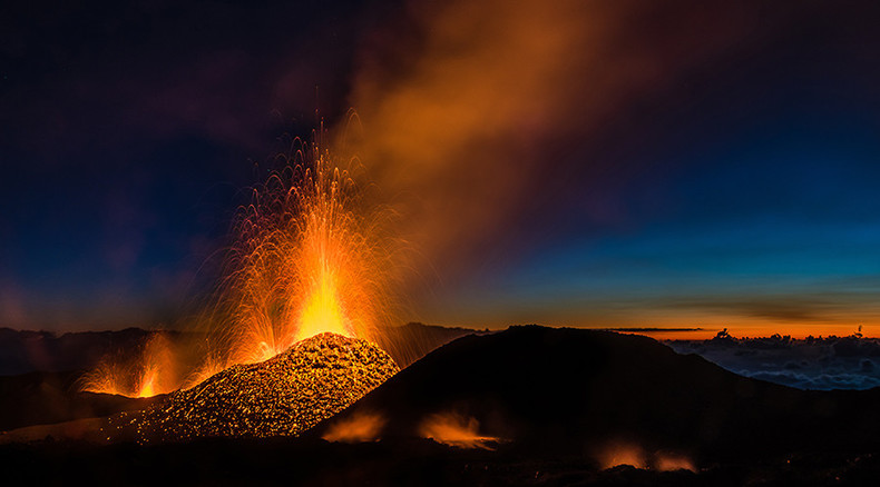 Stunning footage of Reunion island volcano spewing lava (VIDEO)