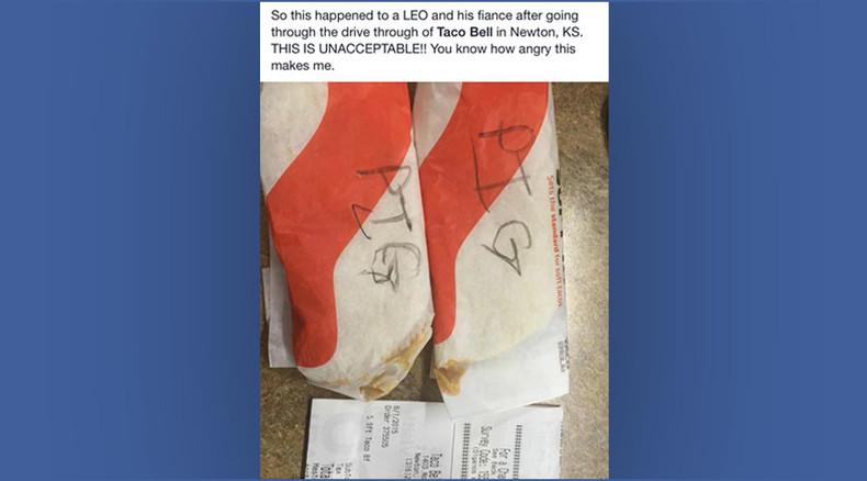 Kansas Taco Bell worker writes 'pig' on officer's order, gets fired